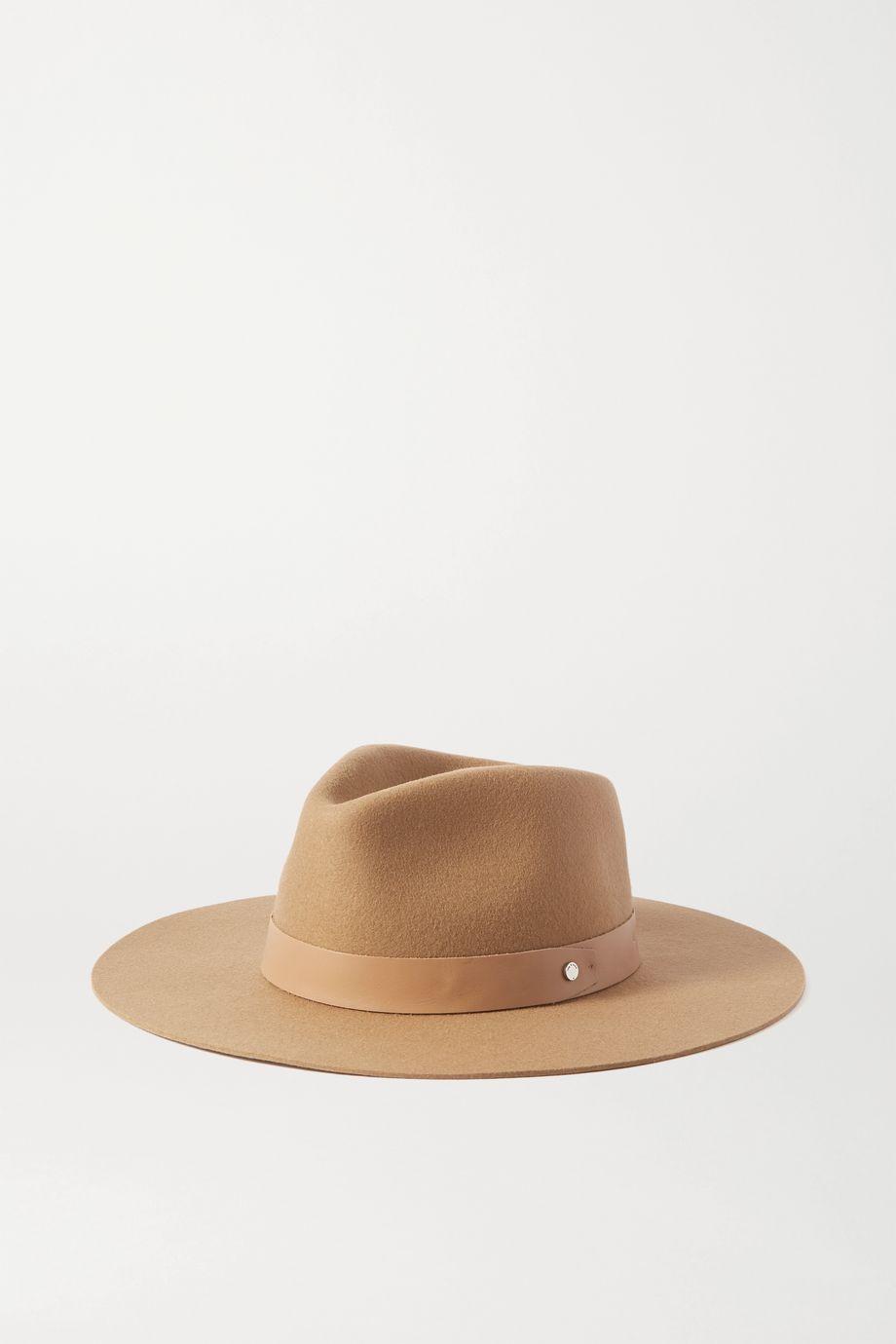 rag & bone Kacy 皮革边饰羊毛毡浅顶卷檐帽