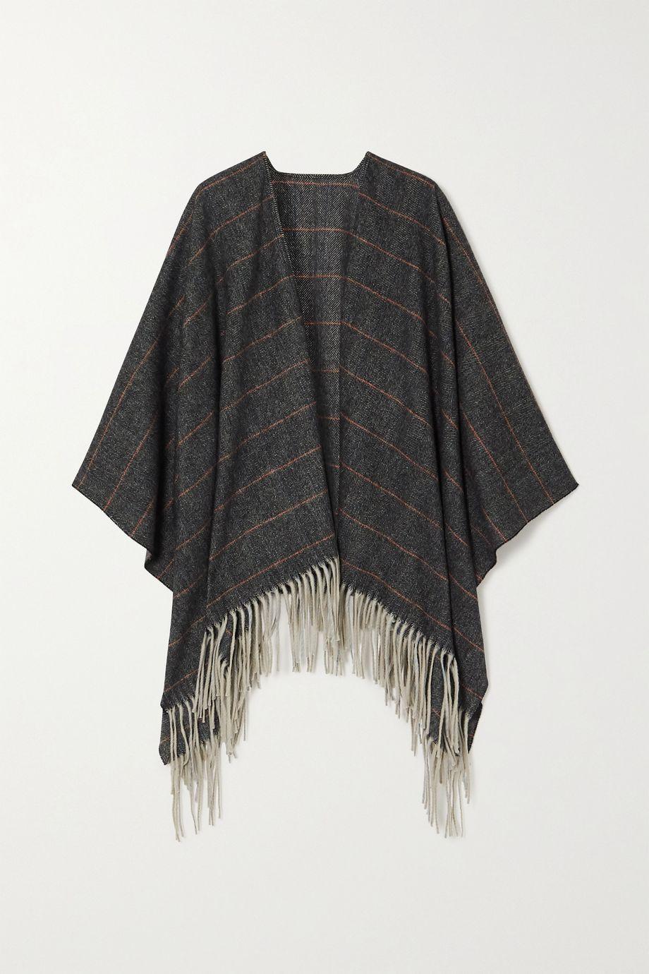 rag & bone Fringed checked wool wrap
