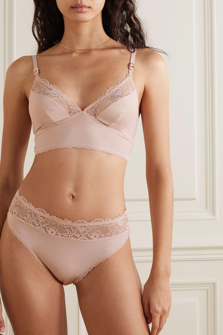 Stella McCartney Lace-trimmed stretch-jersey soft-cup bra