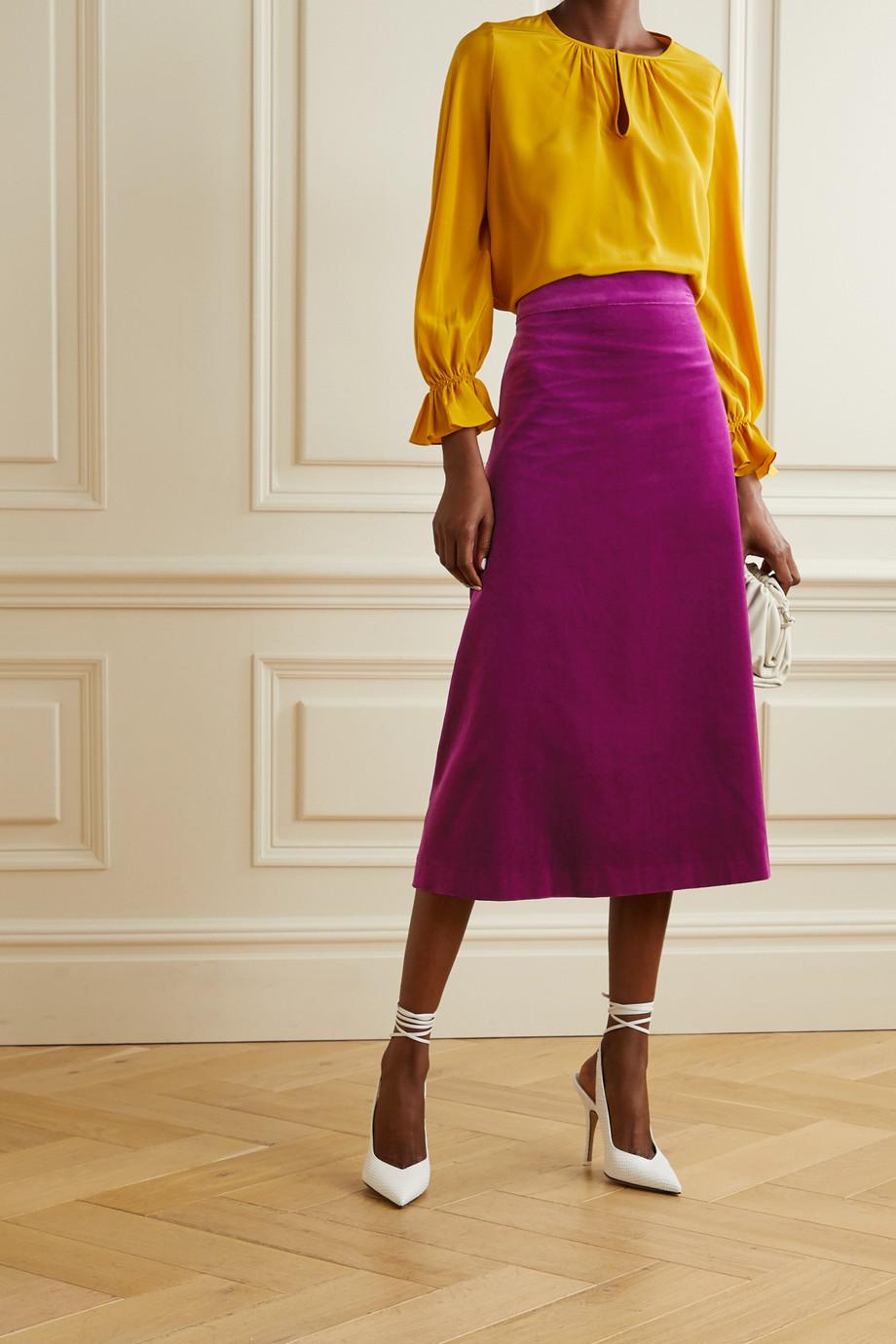 ARoss Girl x Soler Alma cotton-velvet midi skirt