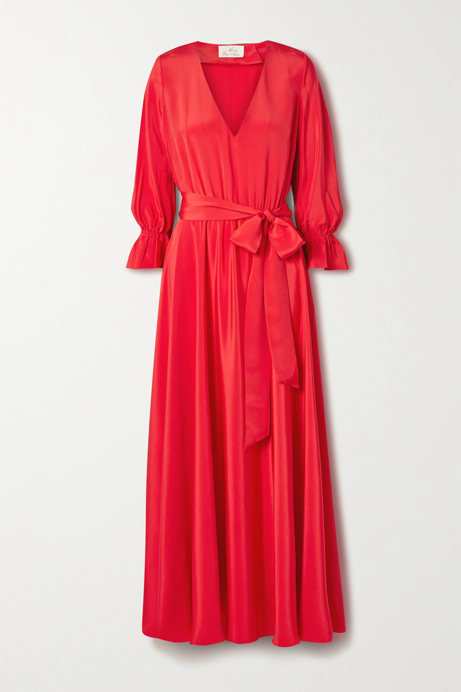 ARoss Girl x Soler Amanda belted silk crepe de chine maxi dress