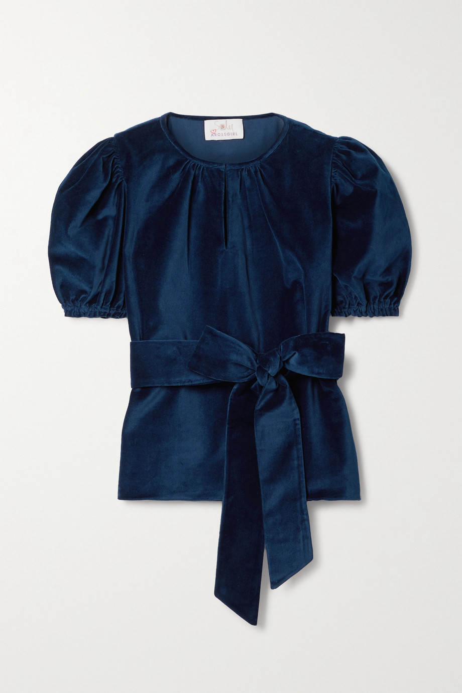 ARoss Girl x Soler Ines belted cotton-velvet blouse