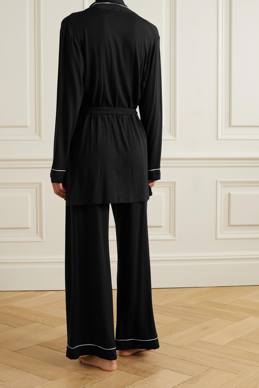 Eberjey Gisele belted piped stretch-modal pajama set