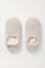 Eberjey The Ankle faux shearling-lined knitted slipper socks