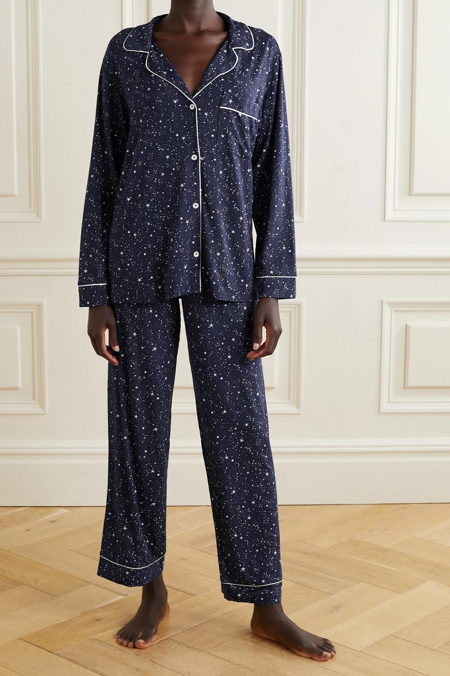 Eberjey Gisele Pyjama aus Stretch-Modal mit Print und Paspeln