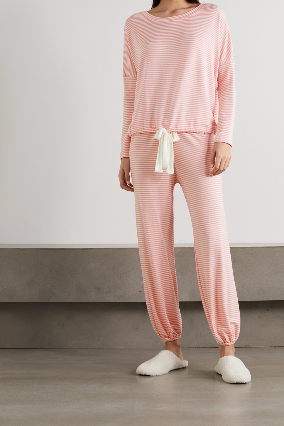 Eberjey Sadie striped stretch modal-jersey pajama top