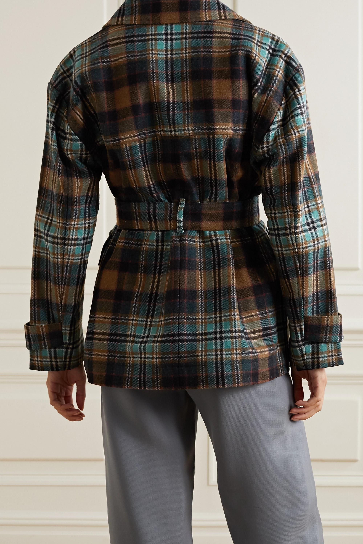 Co Manteau en serge de laine mélangée à carreaux et à ceinture