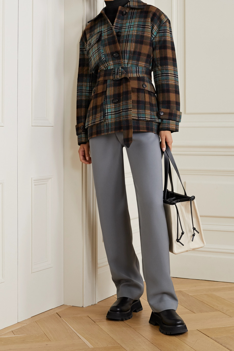 Co Belted checked wool-blend twill coat