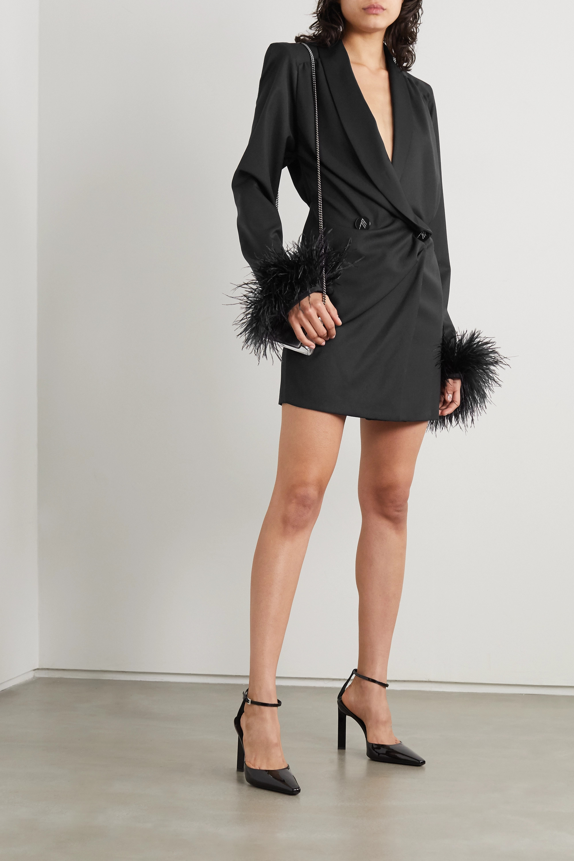 The Attico Feather-trimmed wool-blend twill and satin mini dress