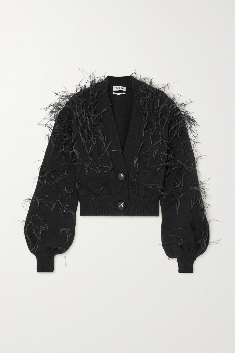The Attico Feather-embellished wool cardigan