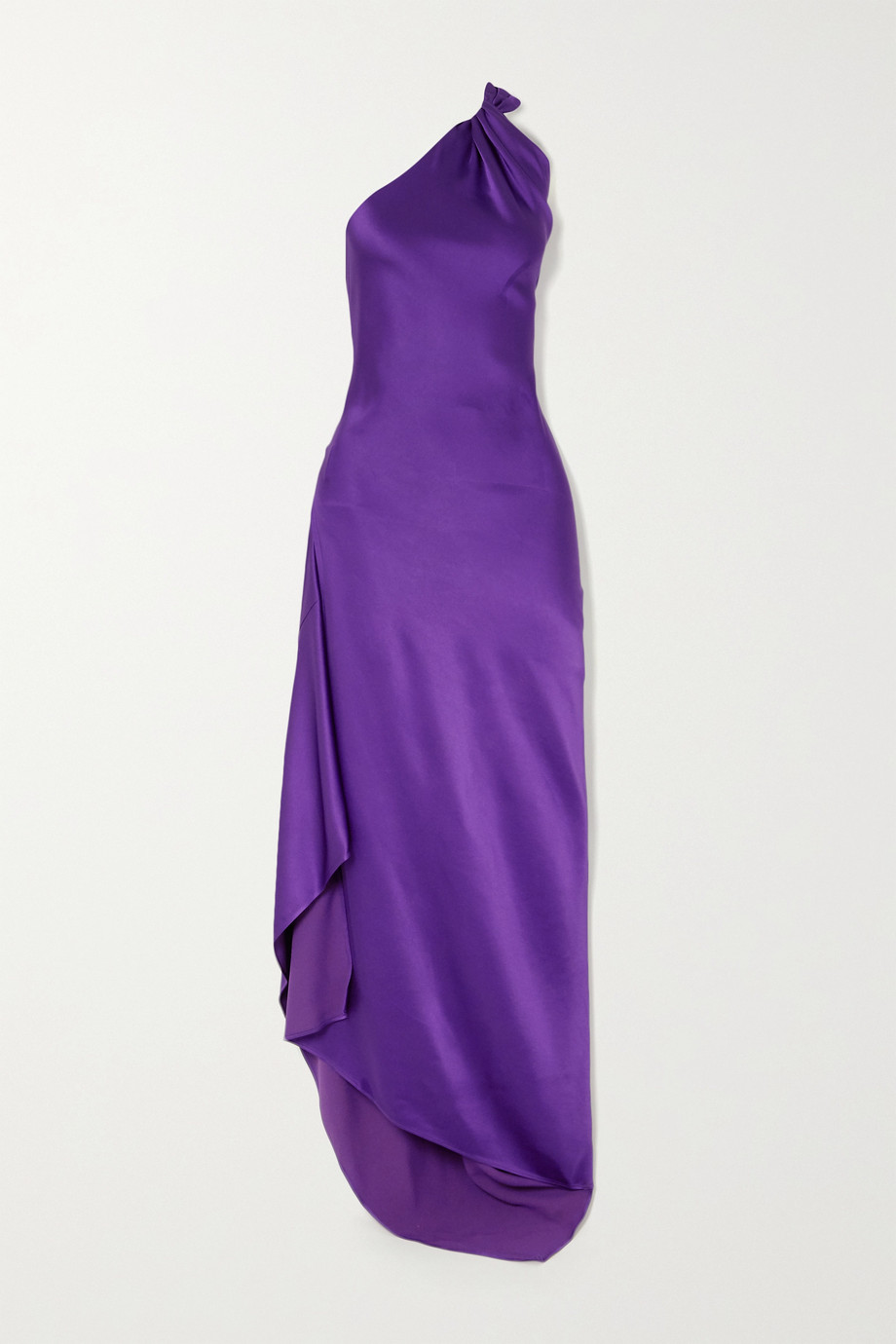 The Attico One-shoulder asymmetric hammered-satin dress