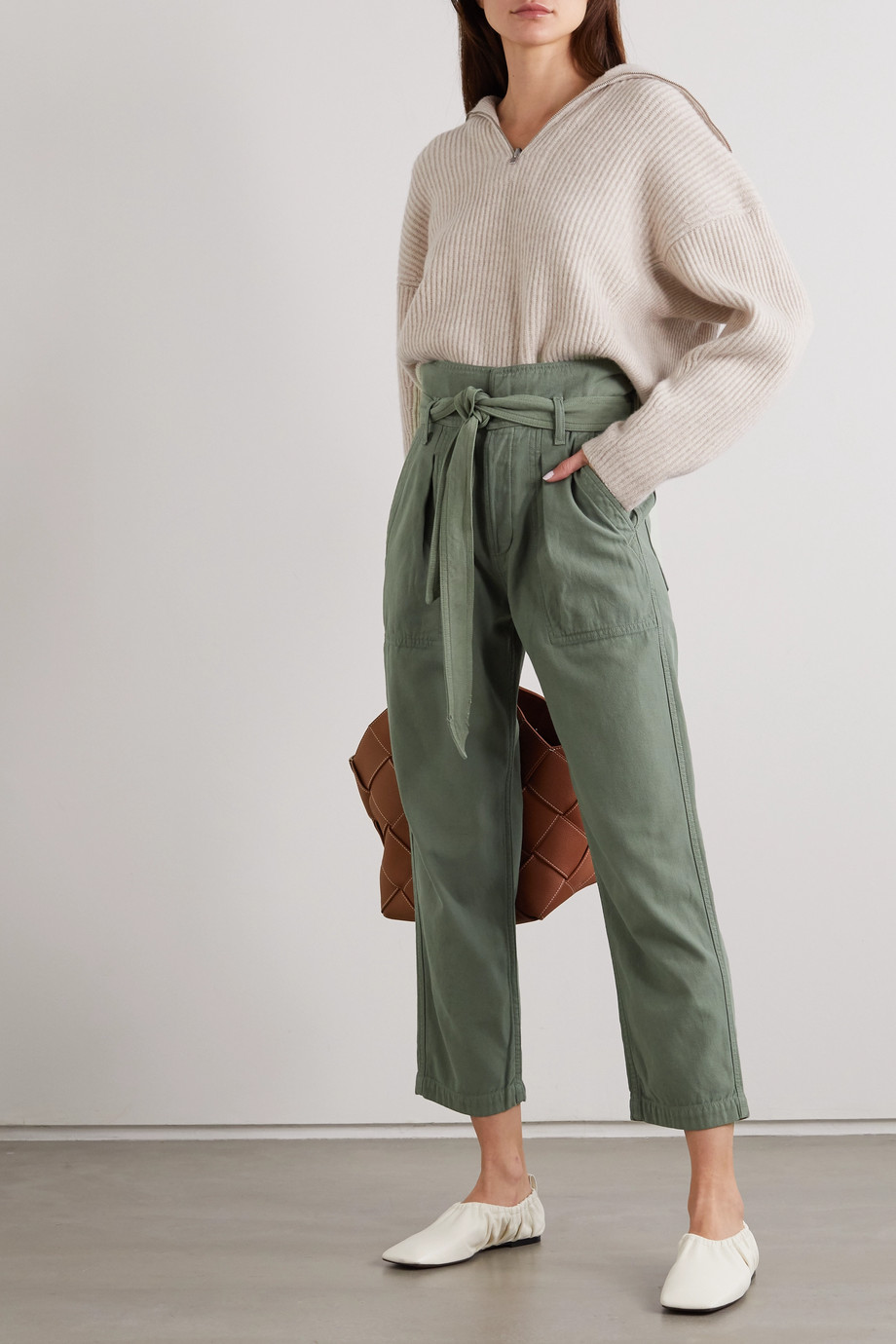 Citizens of Humanity Noelle cropped belted cotton-twill cargo pants