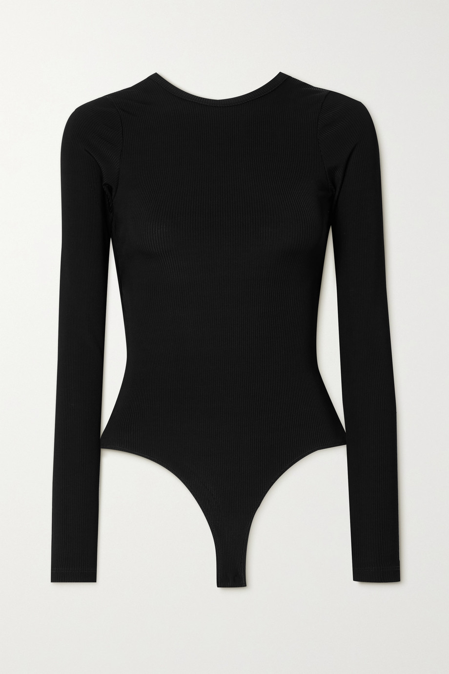 GOLDSIGN Cutout ribbed stretch-knit thong bodysuit