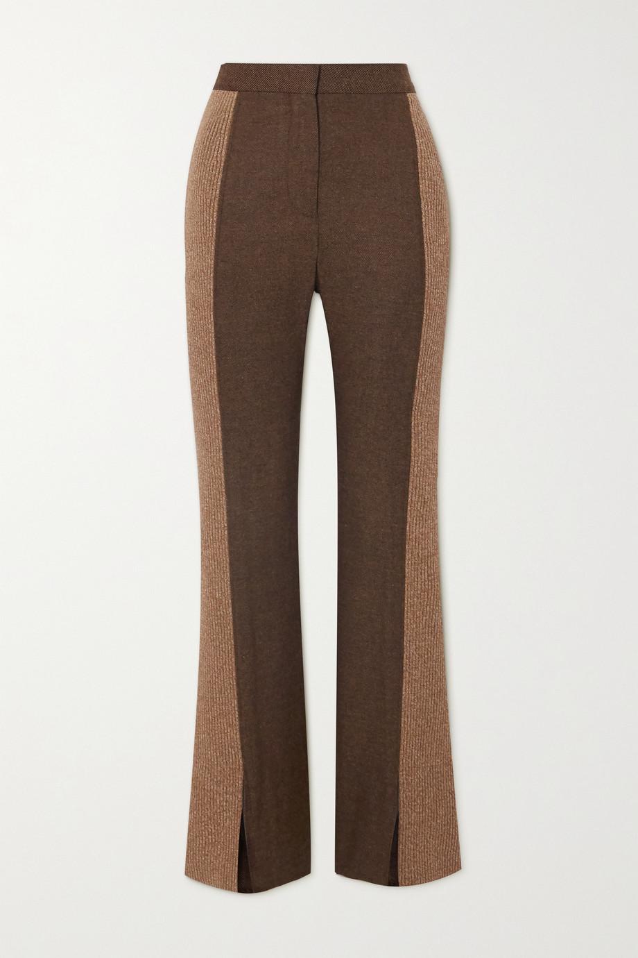 Burberry Paneled wool-blend slim-leg pants