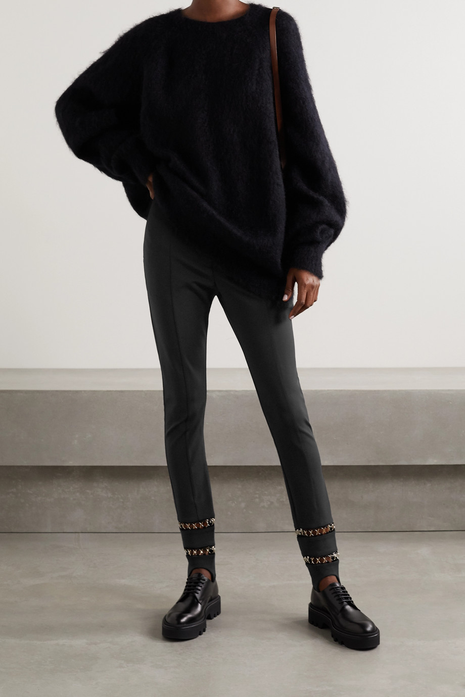 Burberry Chain-embellished stretch-ponte slim-leg stirrup pants