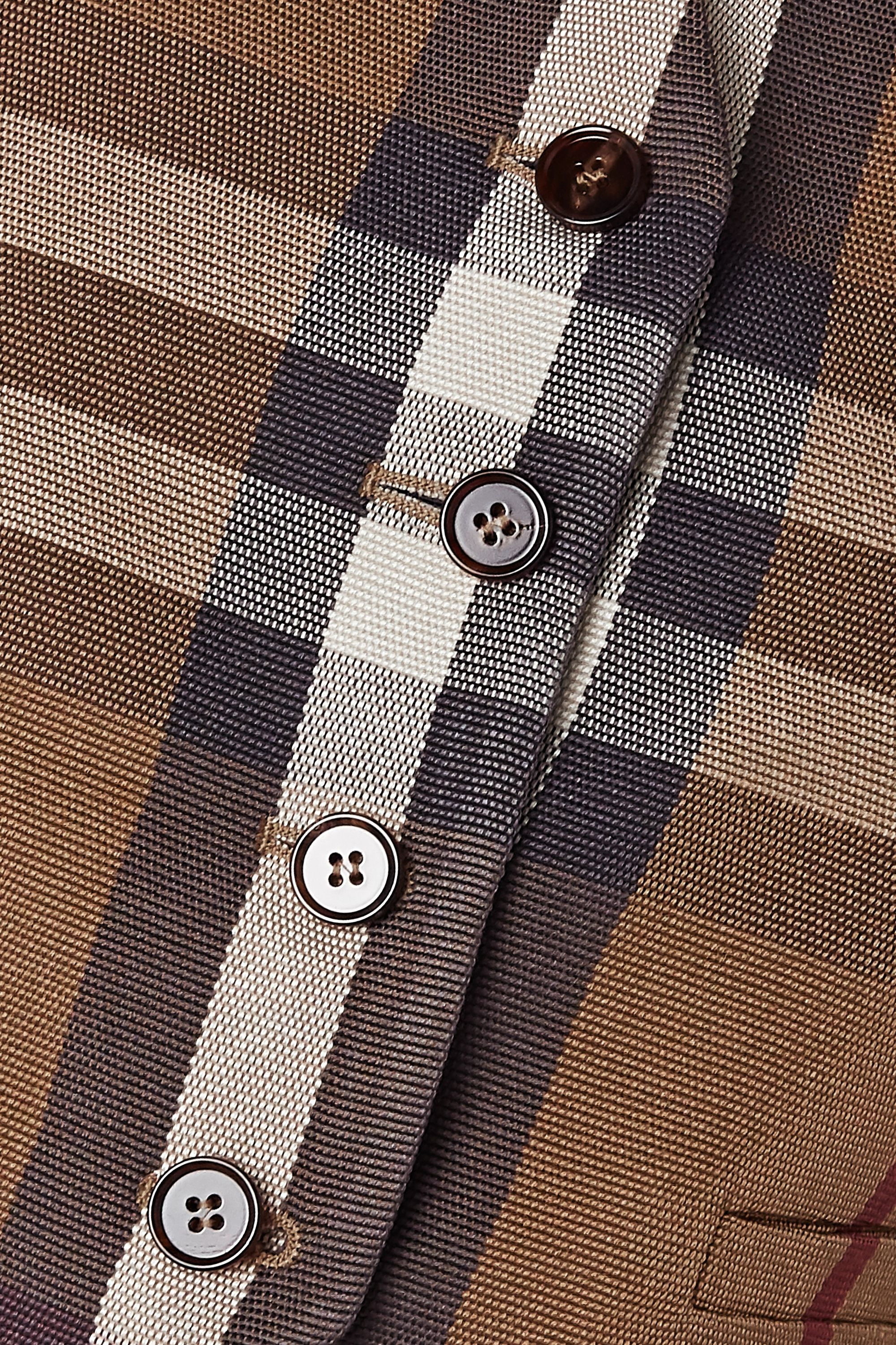 Burberry Cropped checked canvas and satin-jacquard vest