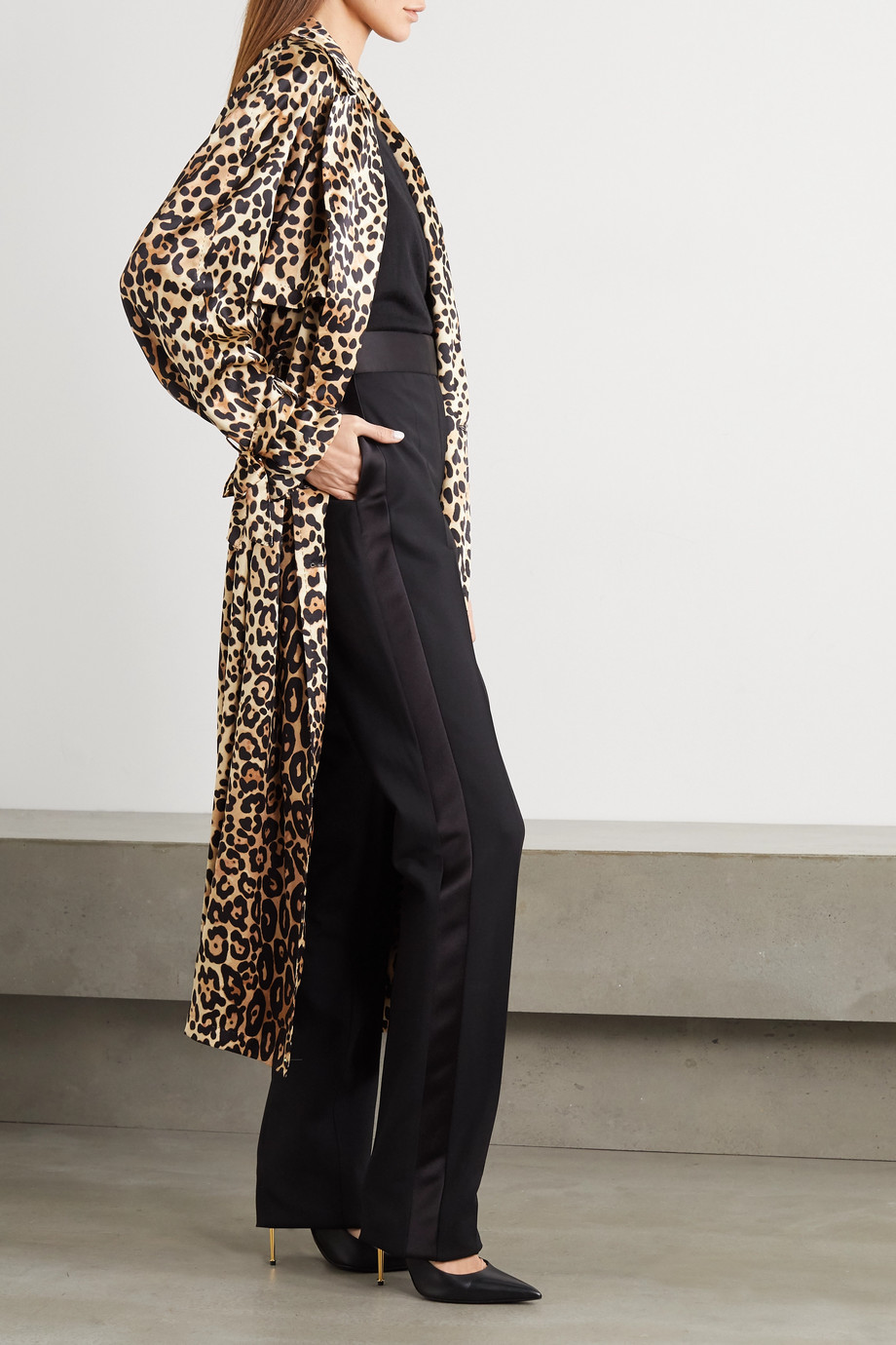 TOM FORD Leopard-print silk trench coat