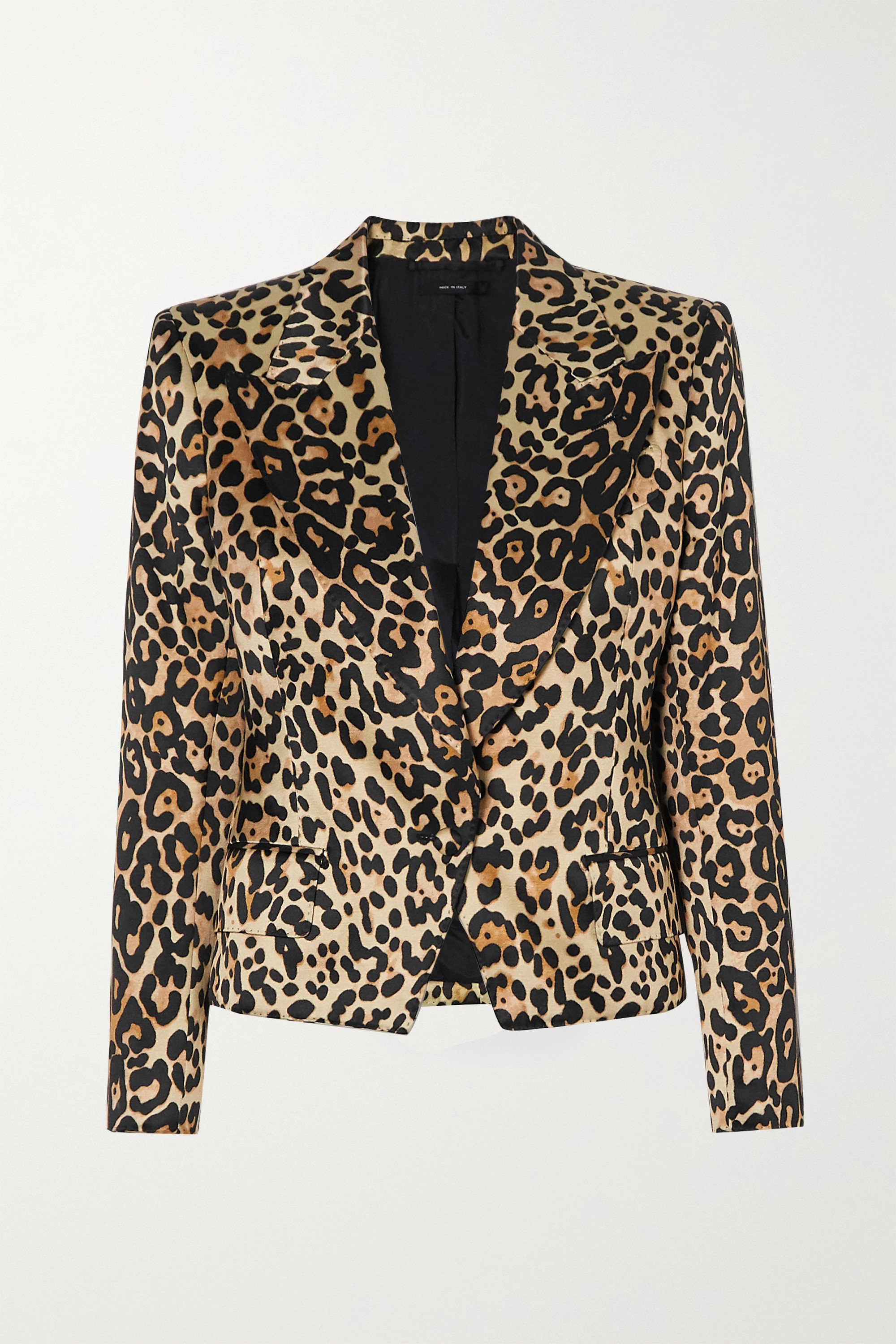 TOM FORD Cropped leopard-print cotton and silk-blend satin blazer