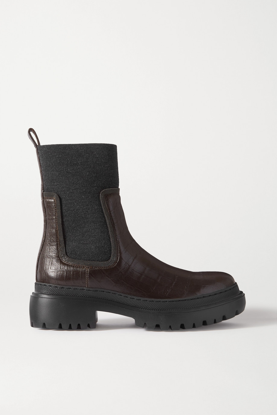Brunello Cucinelli Bead-embellished cashmere-trimmed croc-effect leather Chelsea boots
