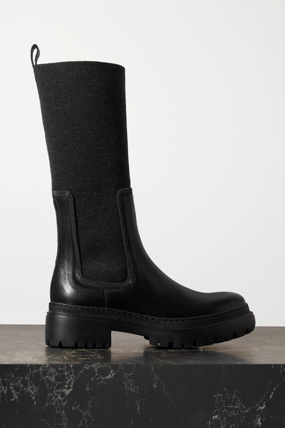 Brunello Cucinelli Bead-embellished cashmere-trimmed leather ankle boots