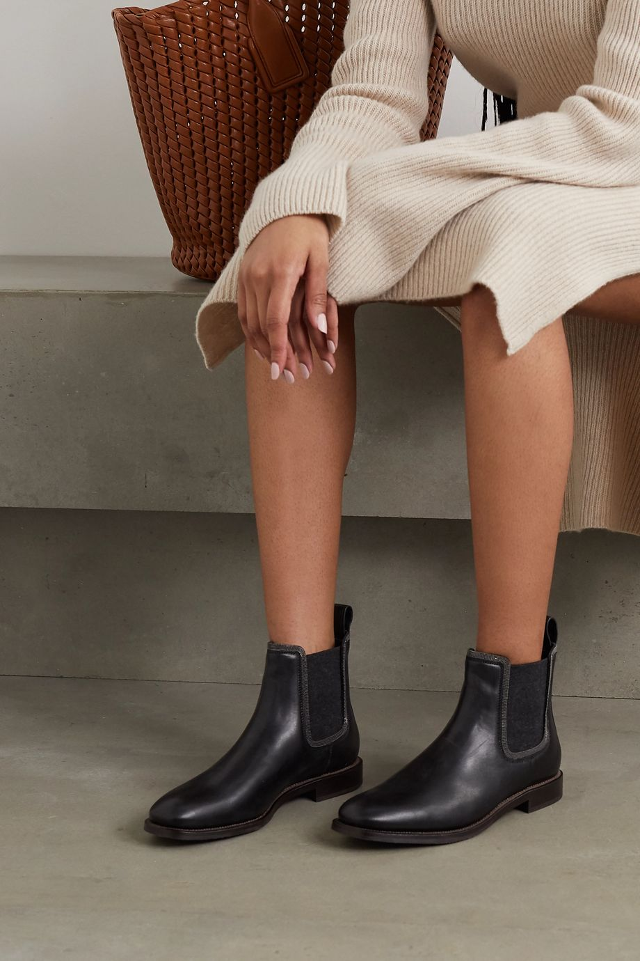 Brunello Cucinelli Bead-embellished cashmere-trimmed leather Chelsea boots