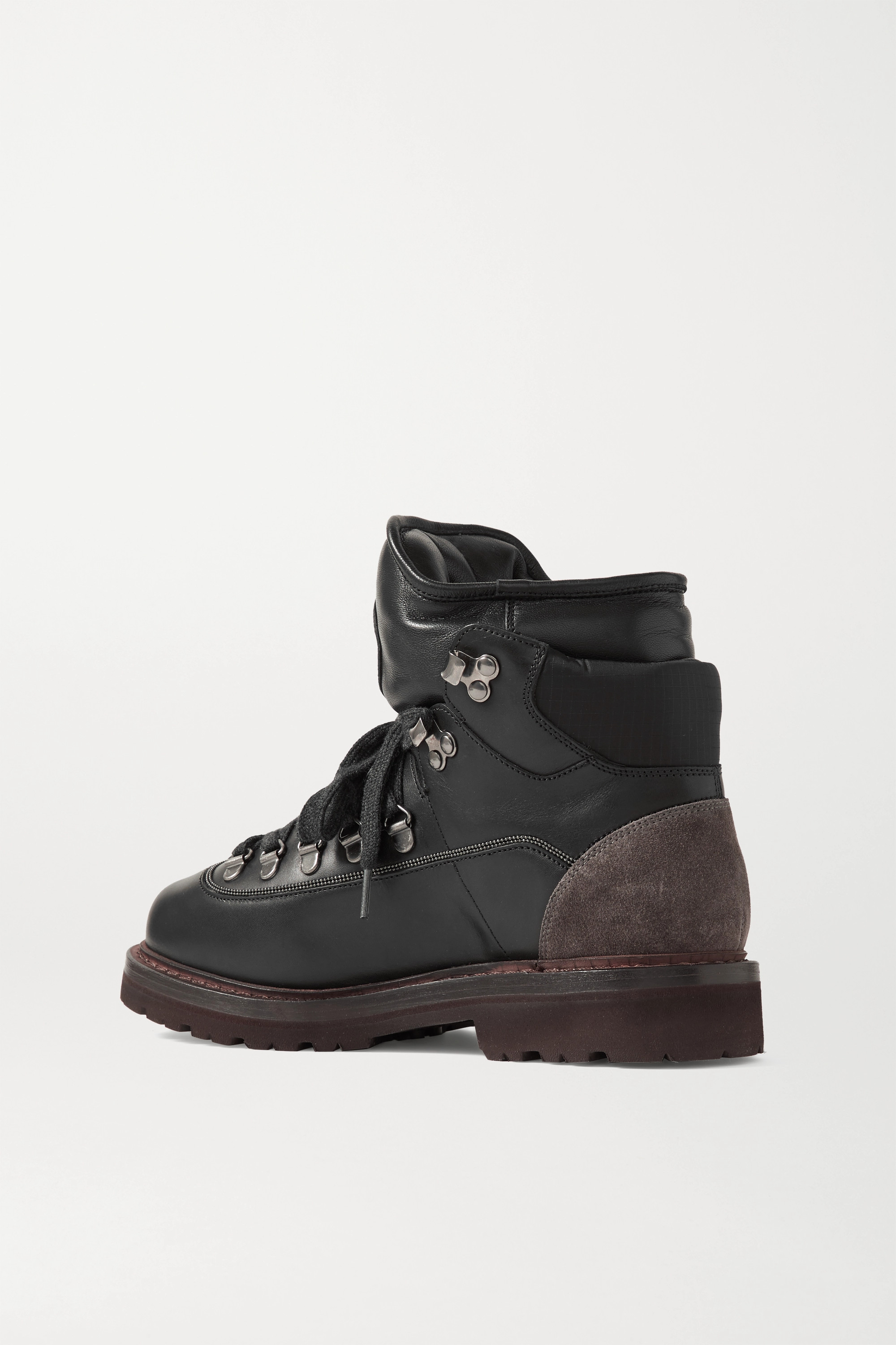 Brunello Cucinelli Suede and ripstop-trimmed leather ankle boots