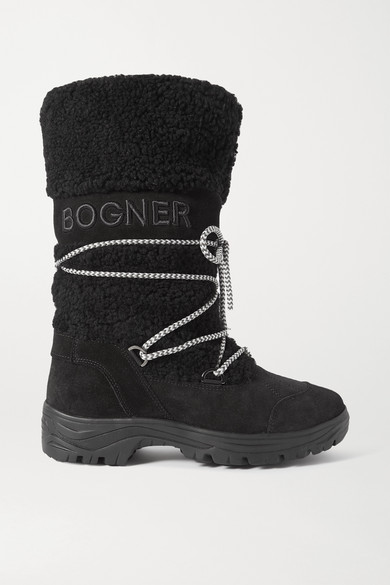 Bogner Alta Badia Embroidered Suede And Shearling Snow Boots In Black