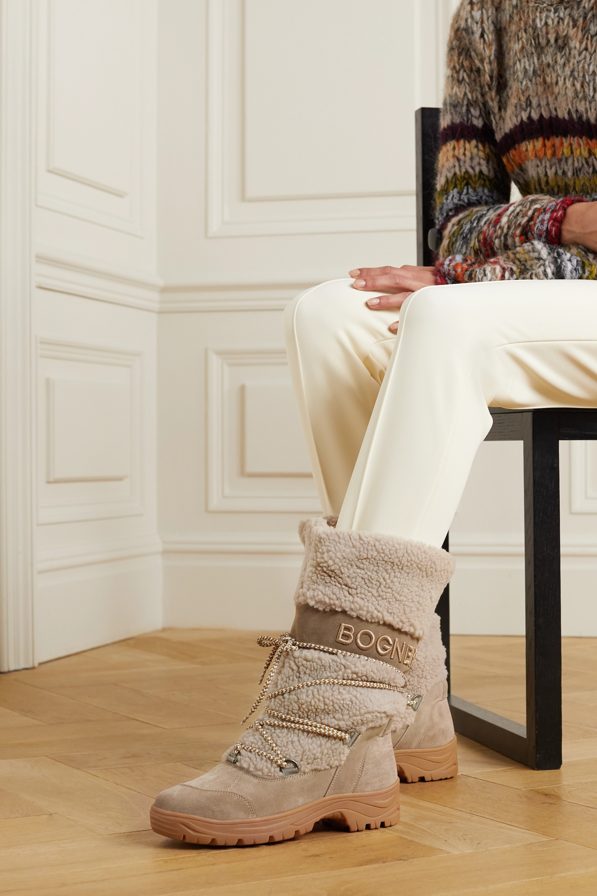 Bogner Alta Badia embroidered suede and shearling snow boots