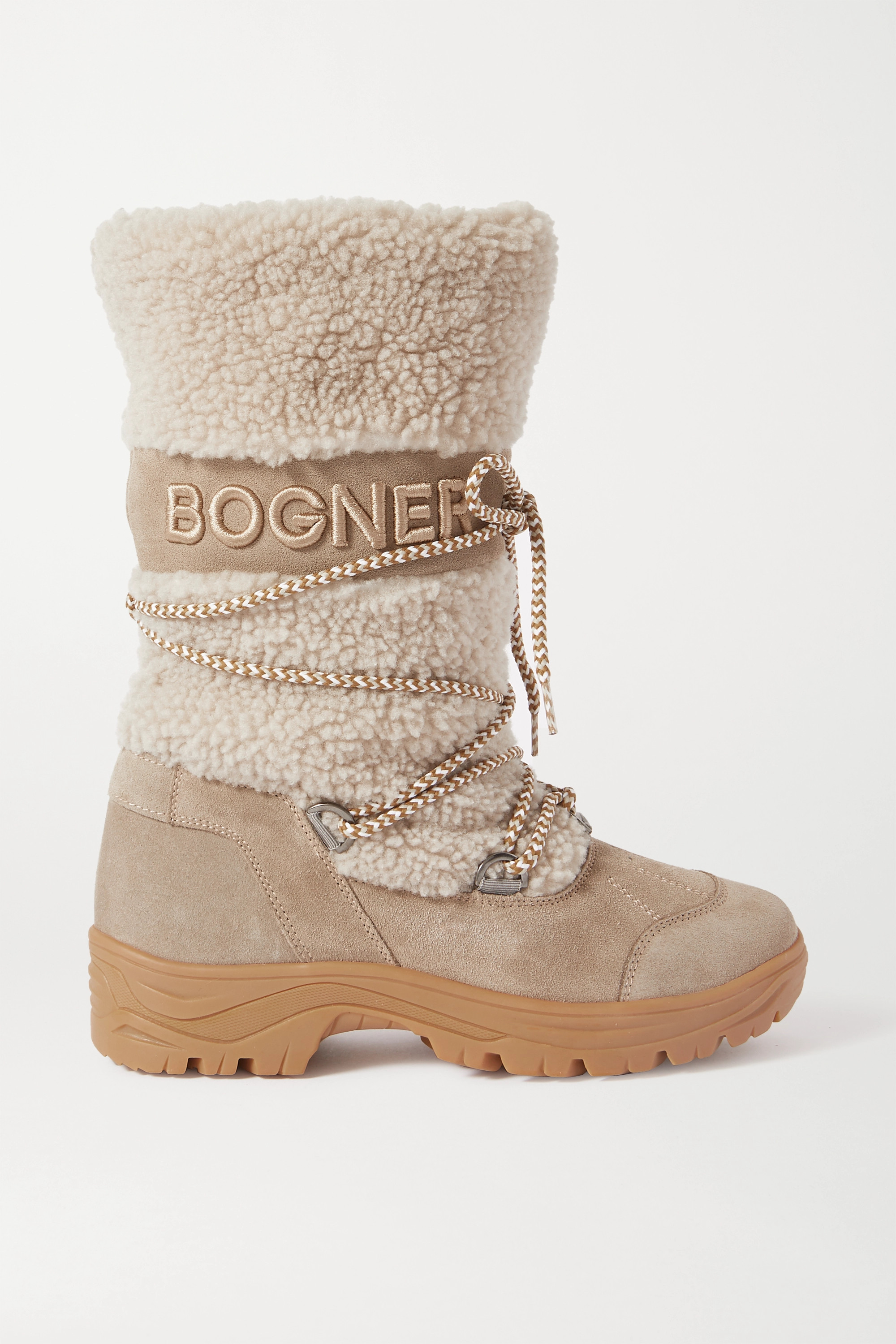 Bogner Alta Badia Embroidered Suede And Shearling Snow Boots In Gray