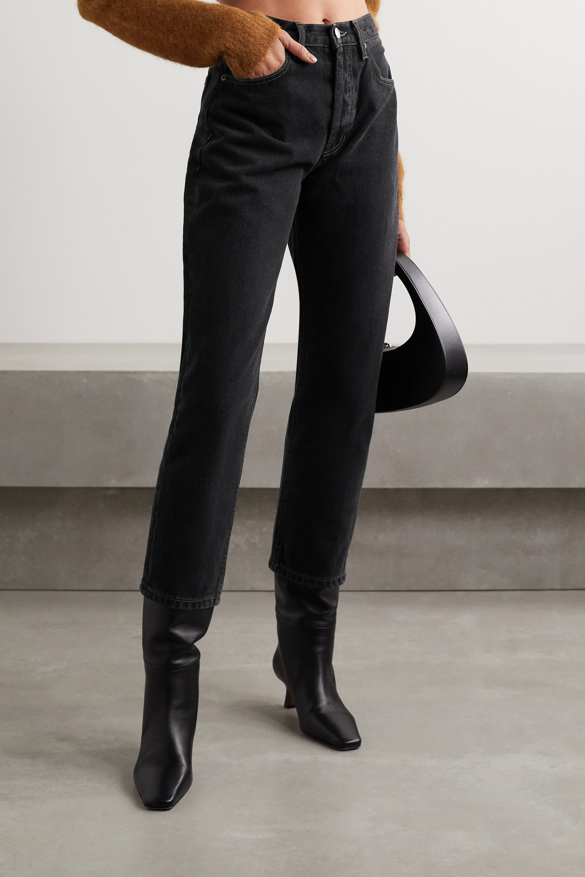 Still Here Sherpa Tate cropped fleece-trimmed high-rise straight-leg jeans