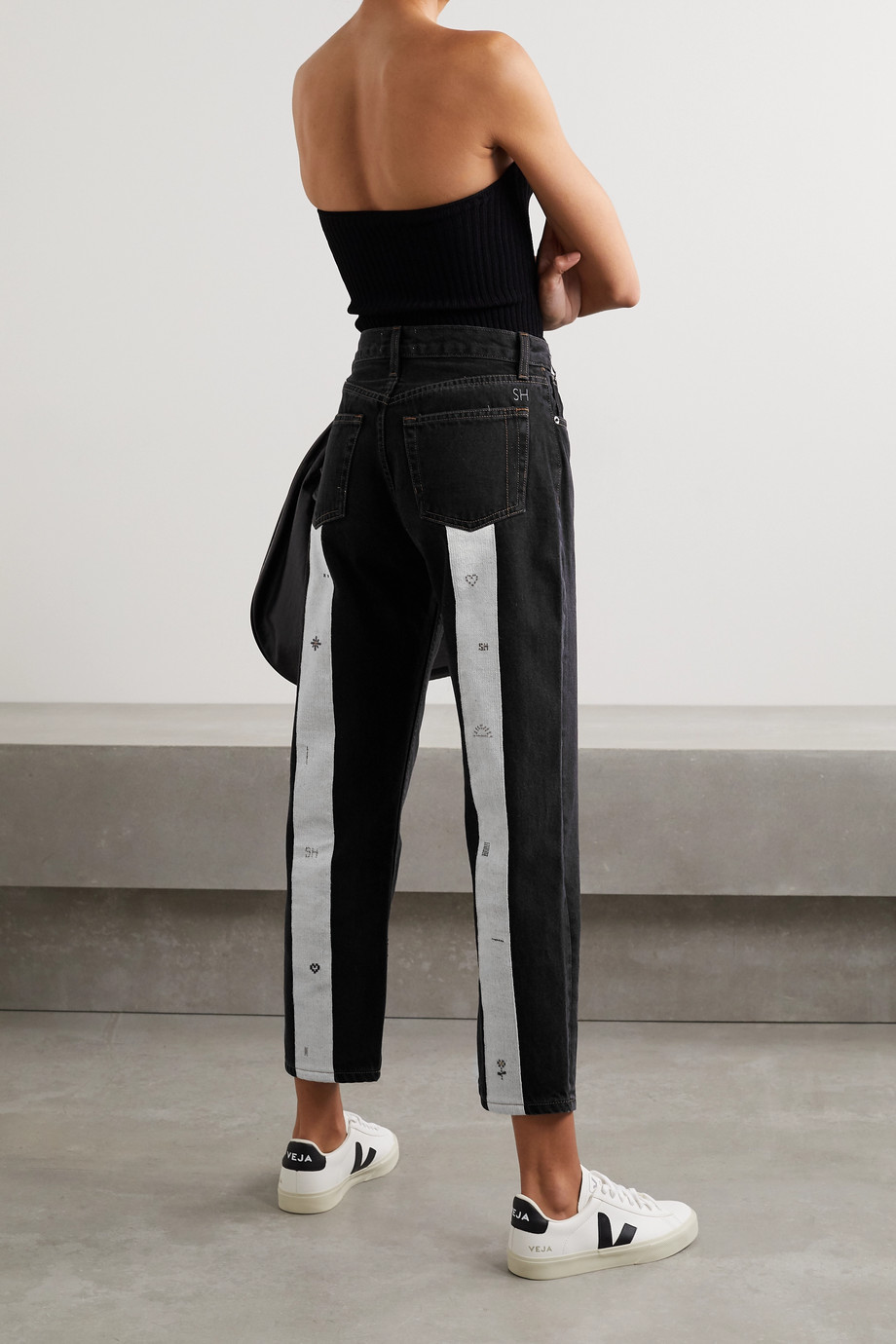 Still Here Loom Play Tate cropped canvas-trimmed high-rise straight-leg jeans