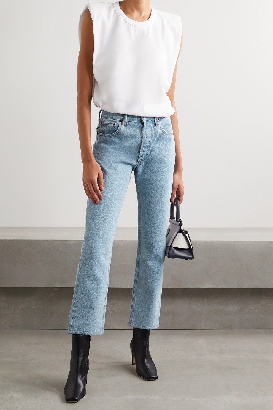 Still Here Shibori Tate cropped high-rise straight-leg jeans