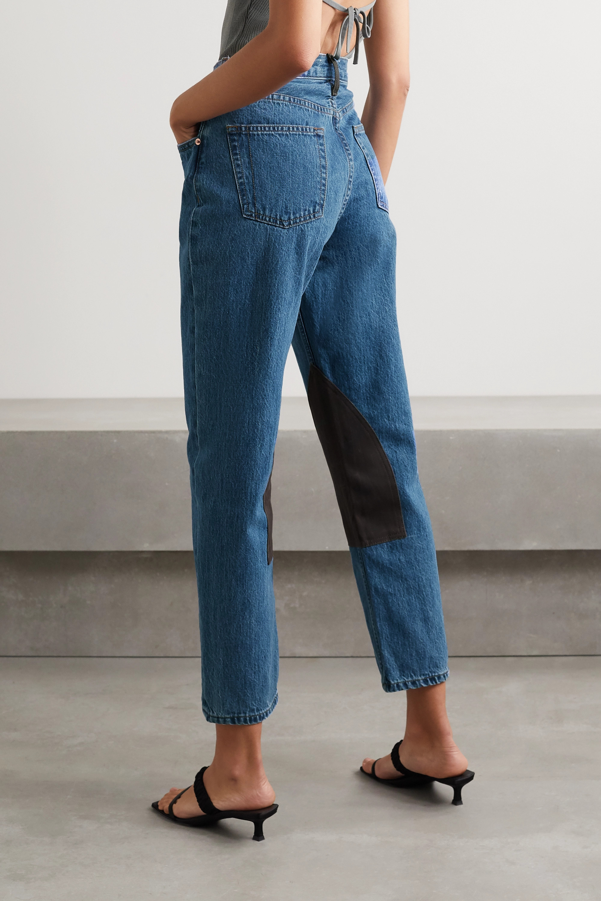 Still Here Cowboy Tate cropped waxed canvas-paneled high-rise straight-leg jeans