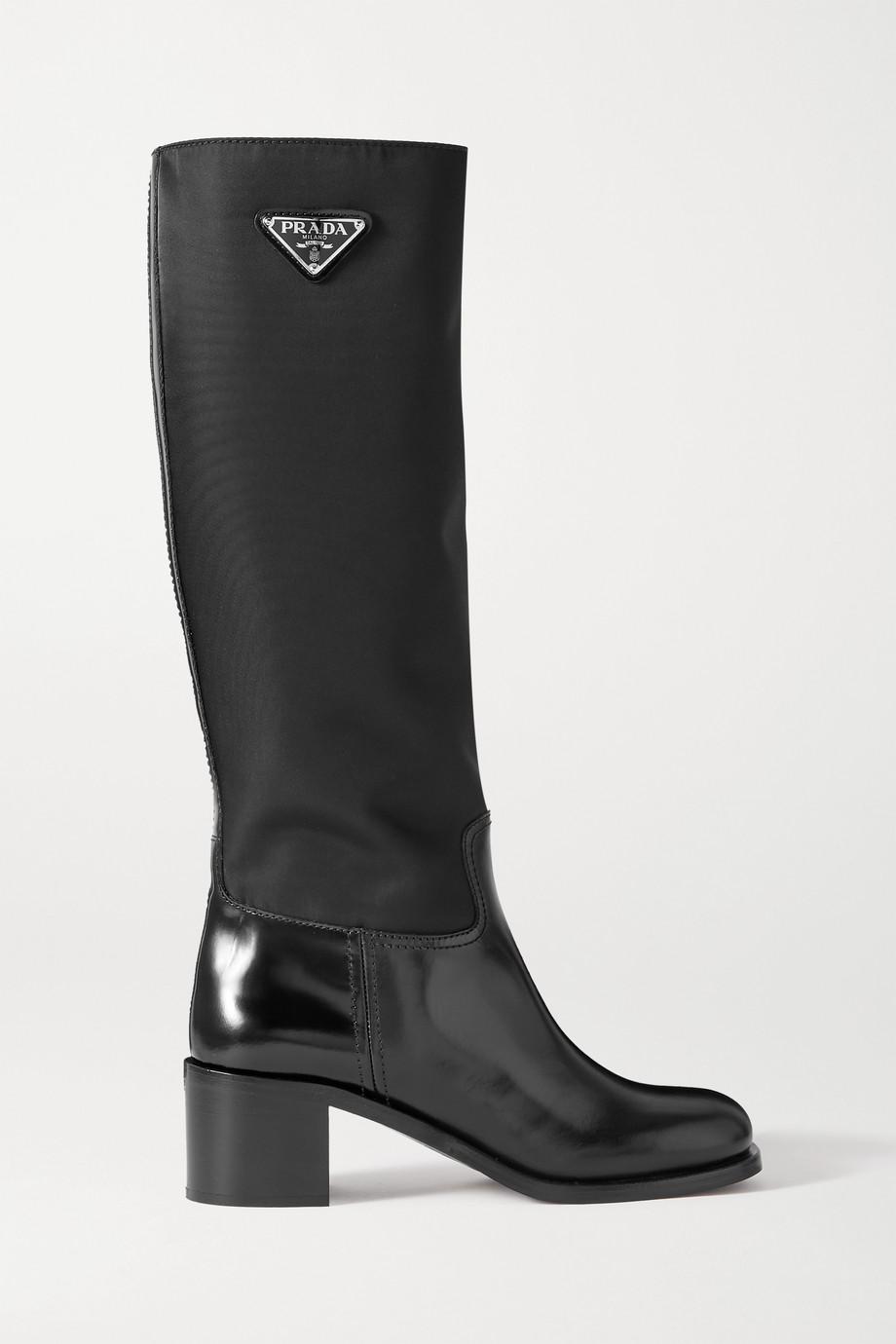 Prada Logo-embellished glossed-leather and nylon knee boots