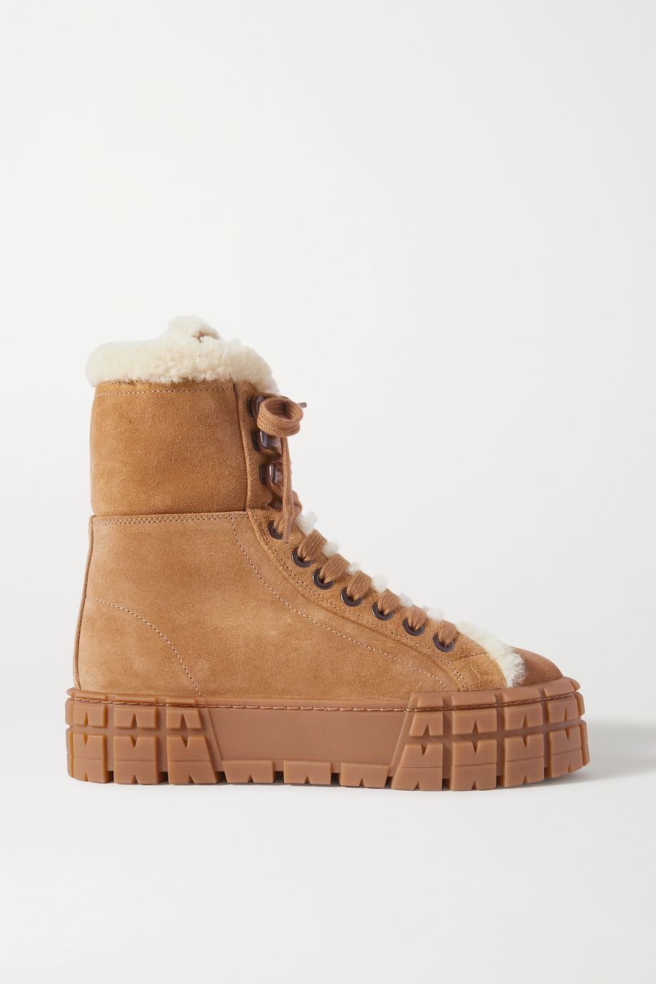 Prada Wheel shearling-lined suede platform ankle boots