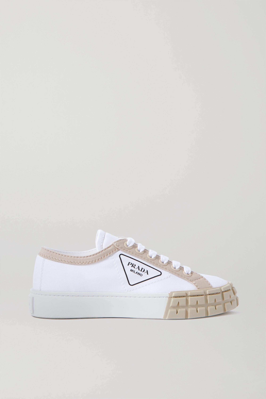 Prada Logo-print two-tone gabardine sneakers