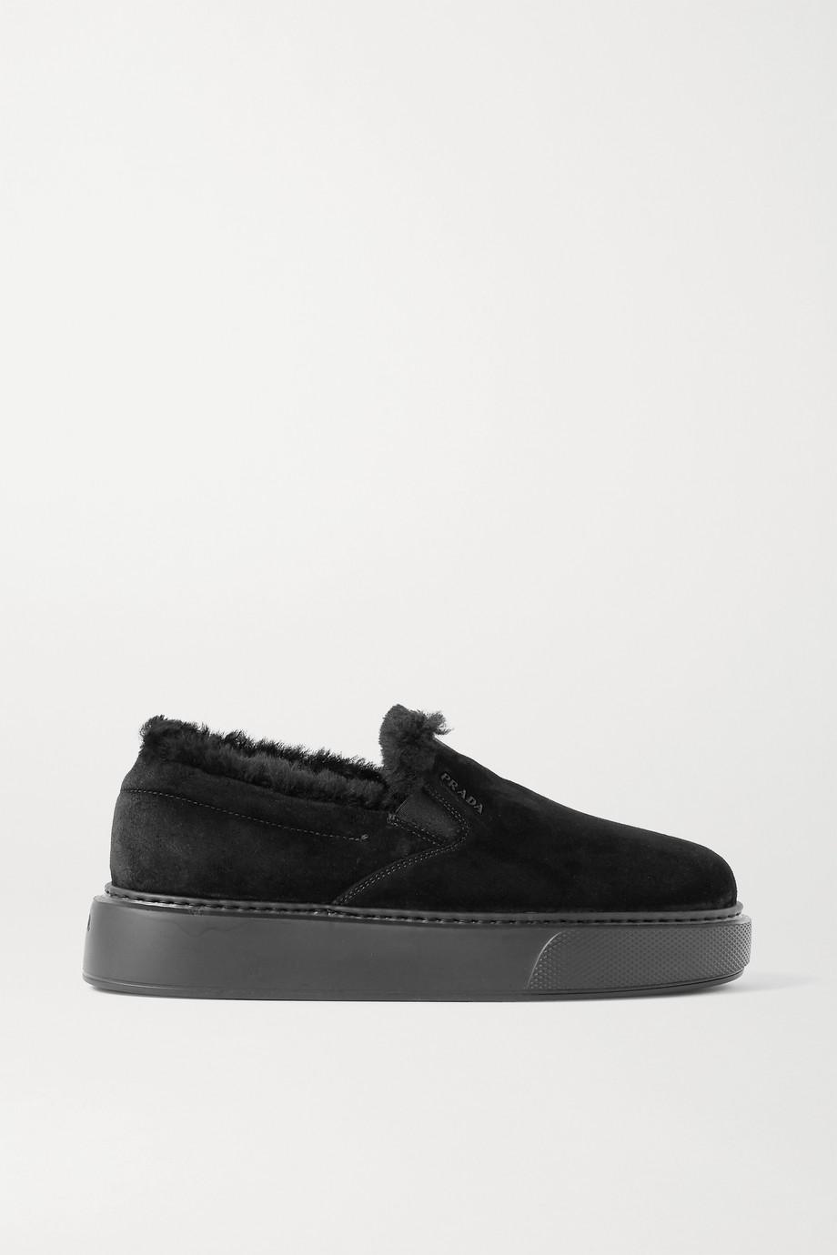 Prada Shearling-trimmed suede sneakers