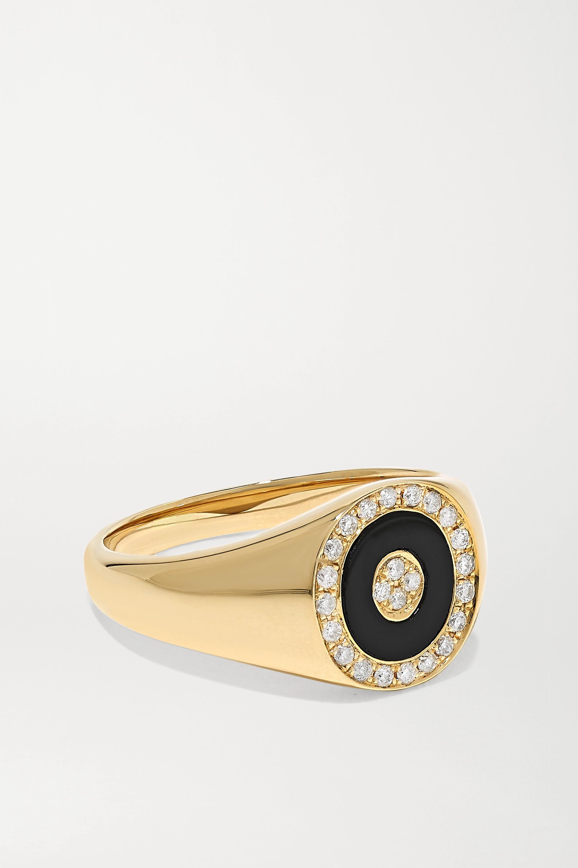 Anissa Kermiche Bague en or 14 carats (585/1000), onyx et diamants