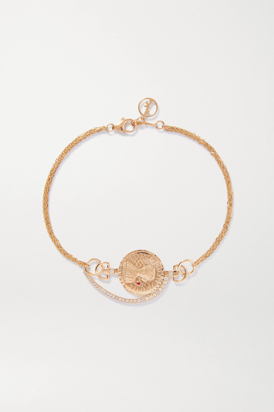 Anissa Kermiche Louise d'Or Coin 14K 黄金多种宝石手链