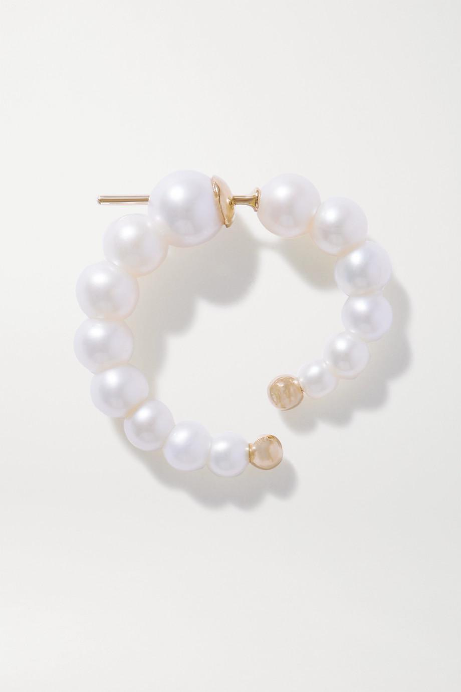 Anissa Kermiche Pearl Swirl Ohrring mit Details aus 14 Karat Gold und Perlen