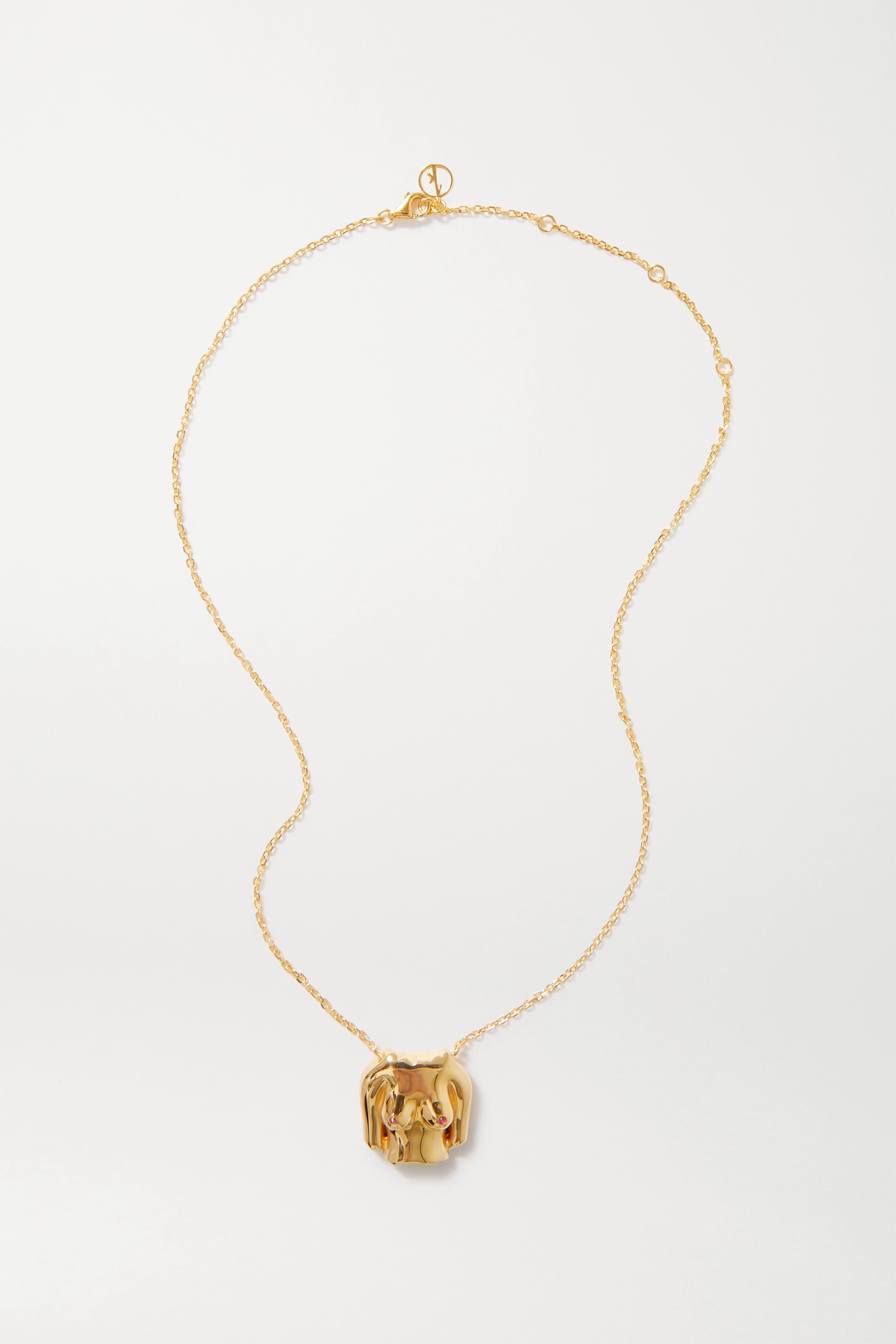 Anissa Kermiche Rubies Boobies gold-plated ruby necklace