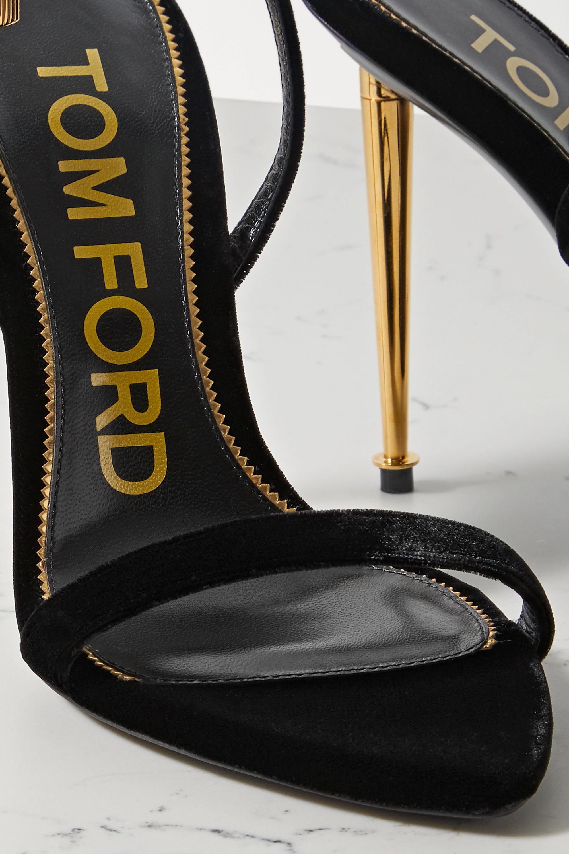TOM FORD Padlock embellished velvet sandals
