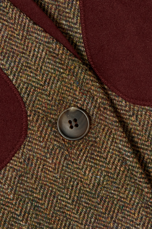 Purdey Alcantara-trimmed checked wool-tweed vest