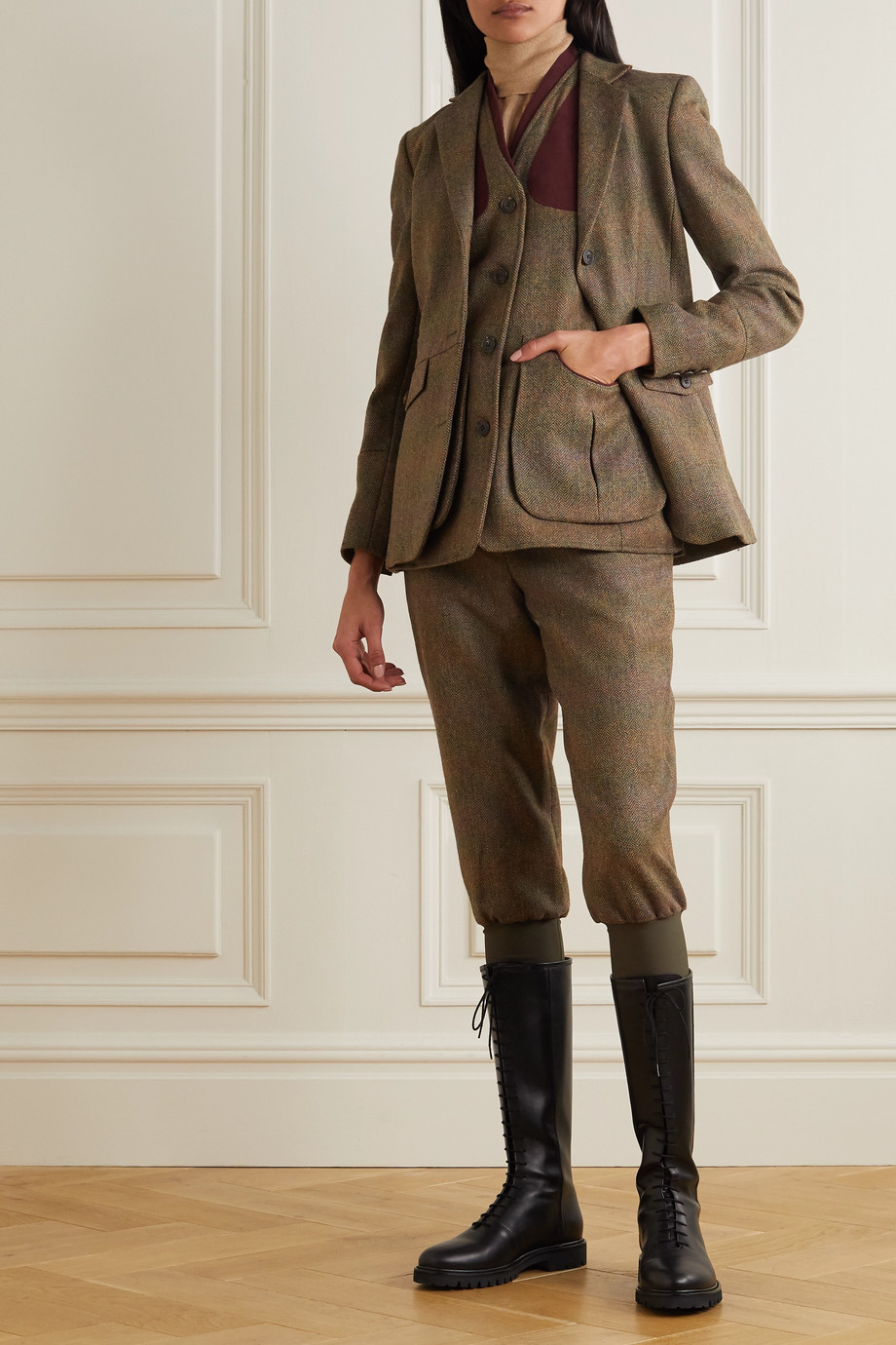 Purdey Cropped belted cotton-trimmed checked wool-tweed tapered pants