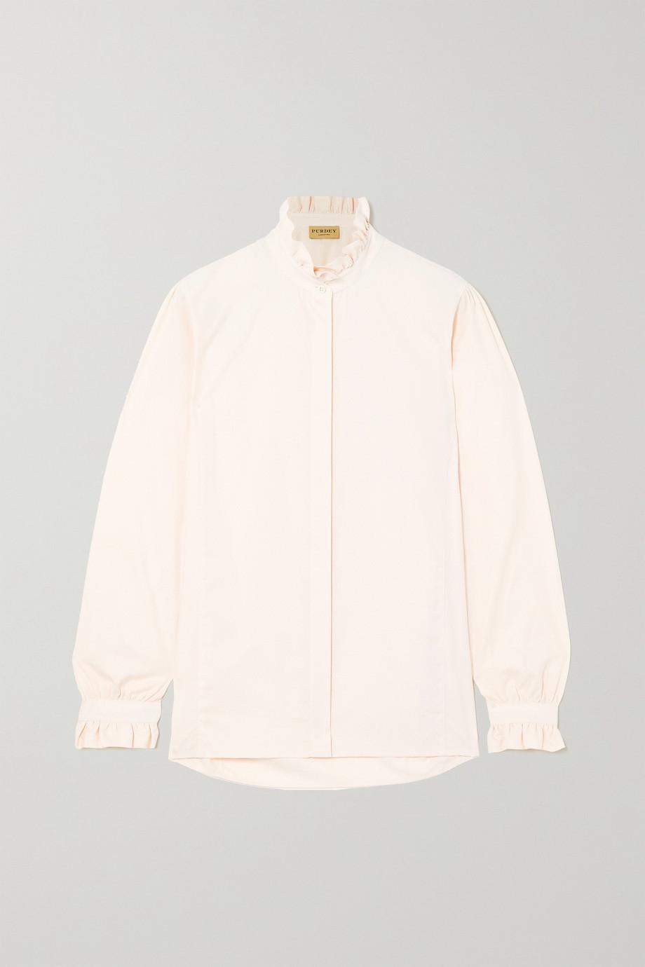 Purdey Ruffled cotton-jacquard shirt