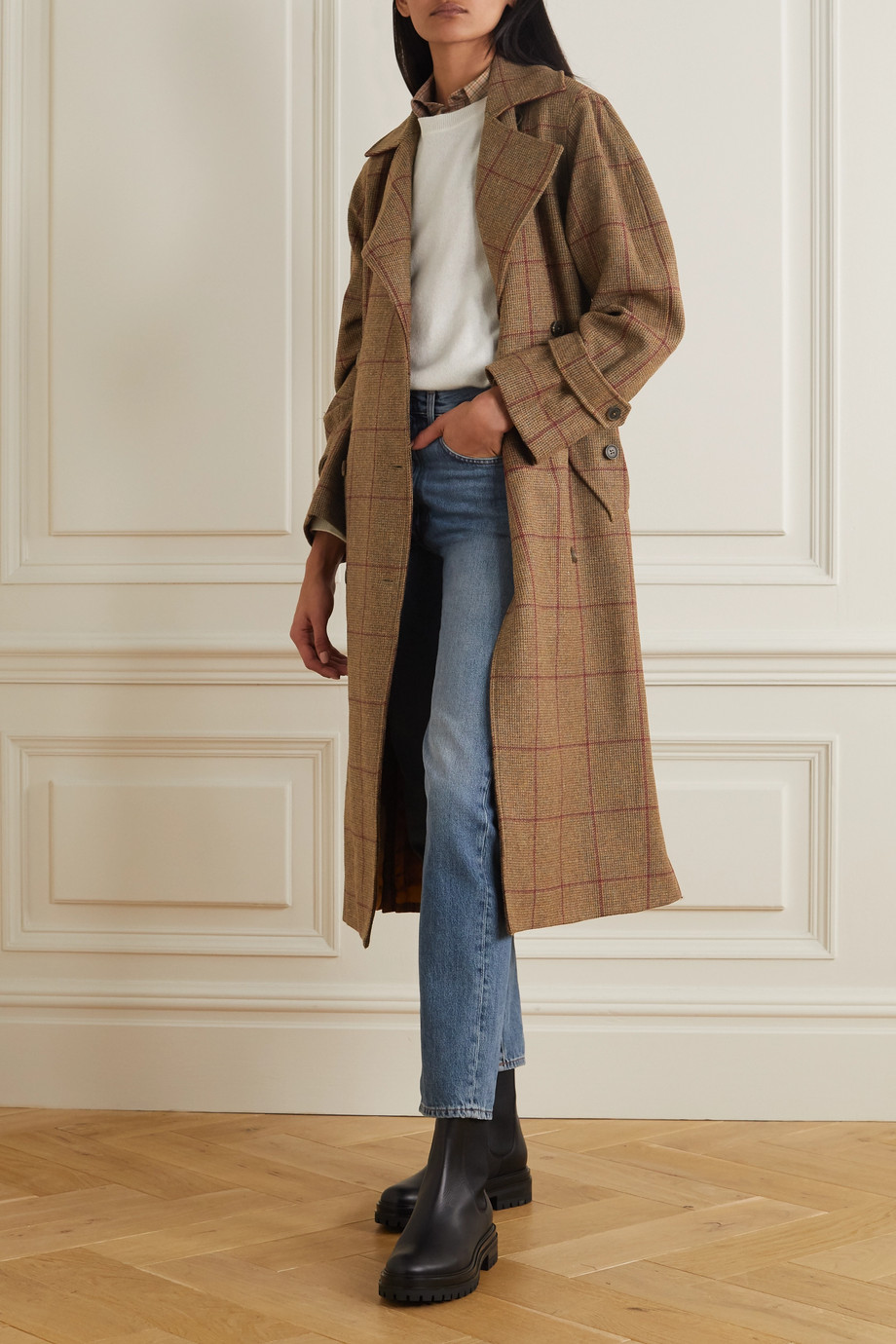 Purdey Belted checked wool-tweed trench coat