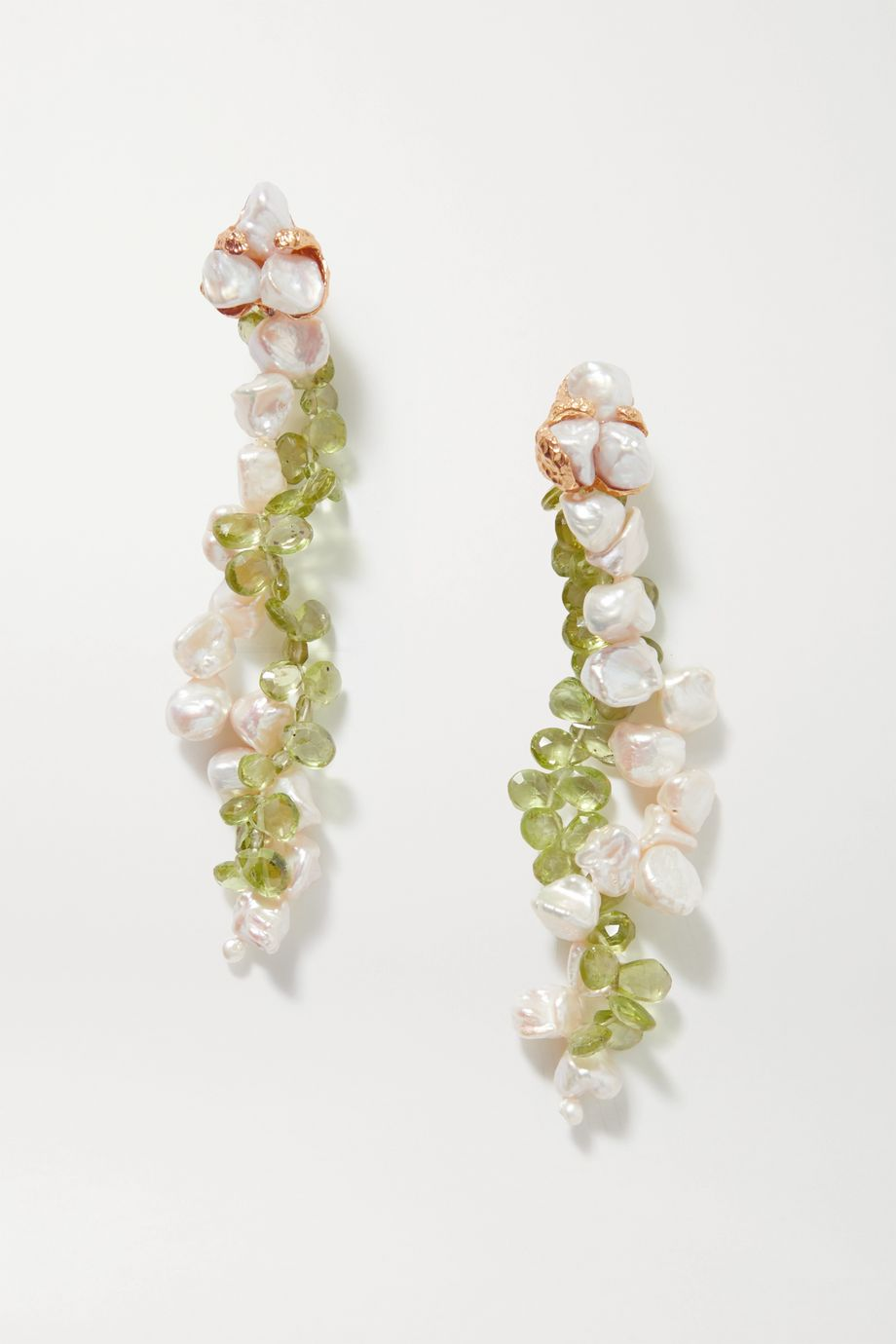 Pacharee Spring Vine gold-plated, pearl and peridot earrings