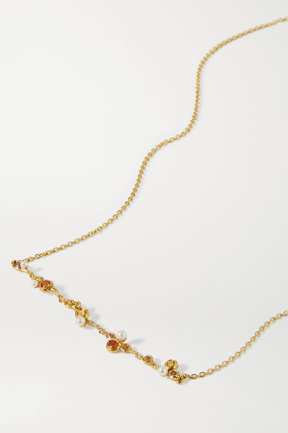 Pacharee Bloom gold-plated, sapphire and pearl necklace