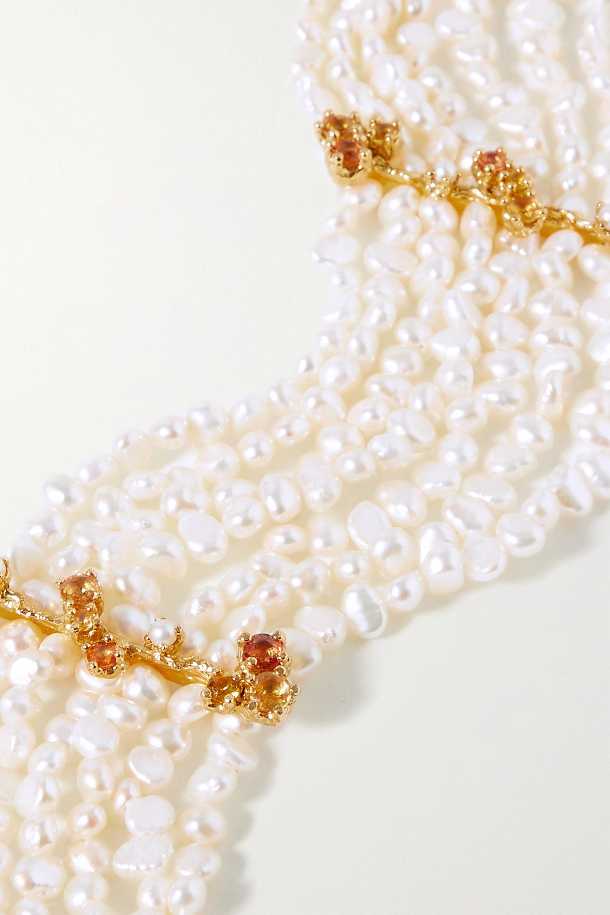 Pacharee Bloom vergoldeter Choker mit Perlen und Saphiren