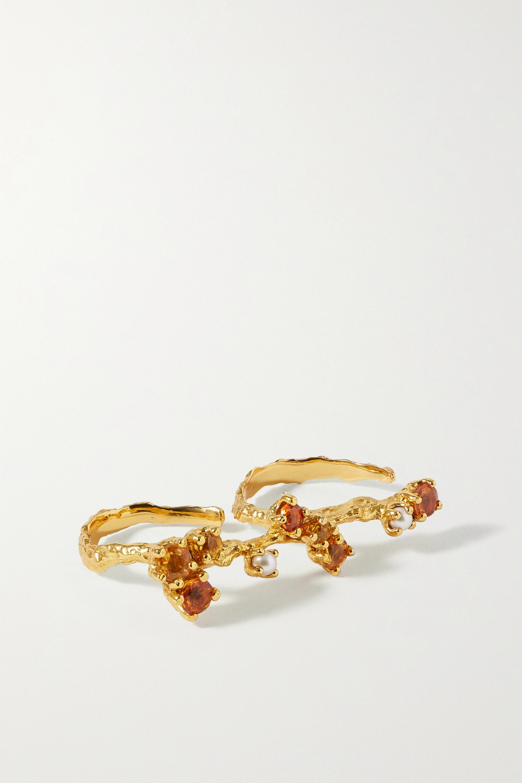 Pacharee Bloom vergoldeter Zwei-Finger-Ring mit mehreren Steinen